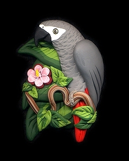Tropical Flower African Grey Pin